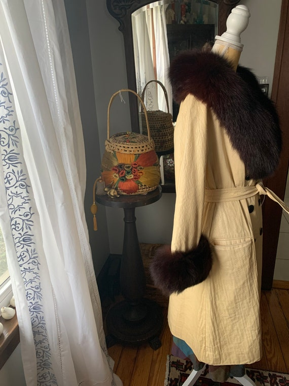 Vintage Lilli Ann Fox Fur Collar Trench, 60s Lill… - image 2