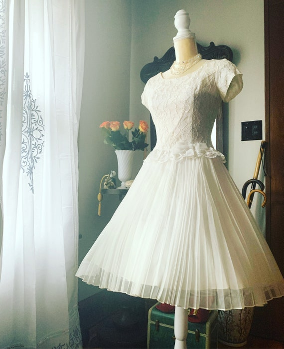 50s White Chiffon Dress, 50s Full Skirt Dress, 50s
