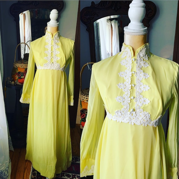 60s Yellow Chiffon Embroidered Dress, Vintage Boho