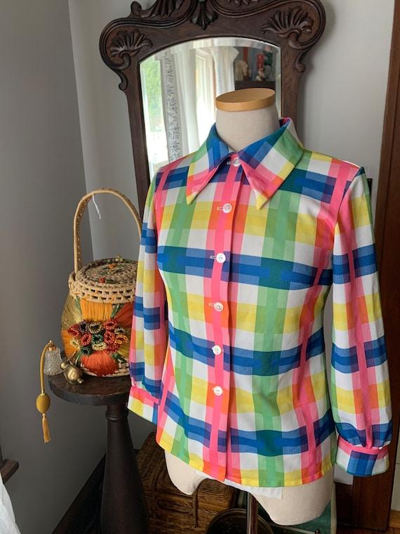 Vintage Plaid 70s Shirt, 70s Plaid Knit Blouse, 70