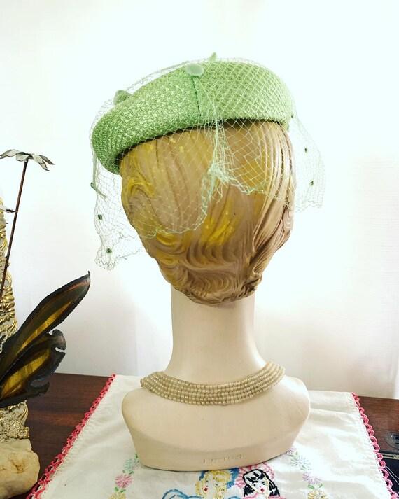 50s Celadon Green Velvet Bow Fascinator, 50s Gree… - image 8