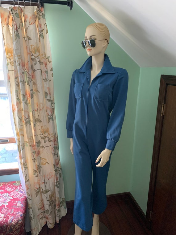 70s Blue Jumpsuit, 70s Size Medium Jumpsuit, 70s … - image 4