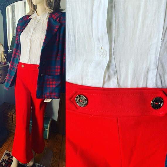 70s Red Knit Sailor Pants, 70s Red Nautical Pants,
