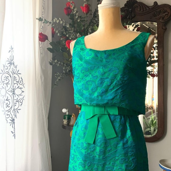 50s Iridescent Green Wiggle Dress, 50s Green Dres… - image 8