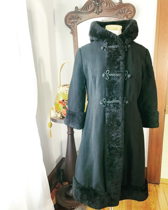 Vintage Russian Princess Shearling Trim Coat, Vint