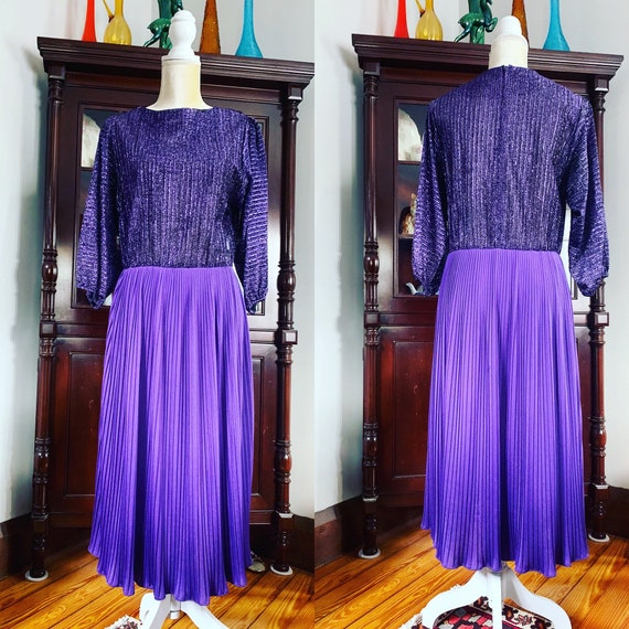 70s Purple Lurex Dress, 70s R&K Original Dress, Vi