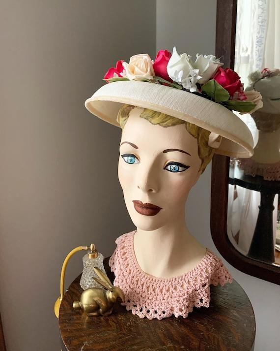 50s Rose Hat, Vintage Hat With Roses, 50s Flower … - image 1