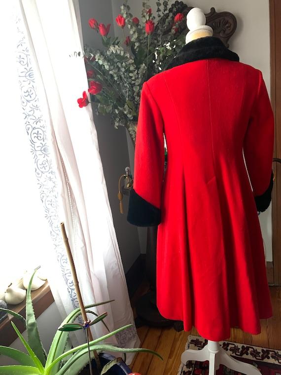 Vintage Red Princess Coat, Vintage Red Wool Fit A… - image 5