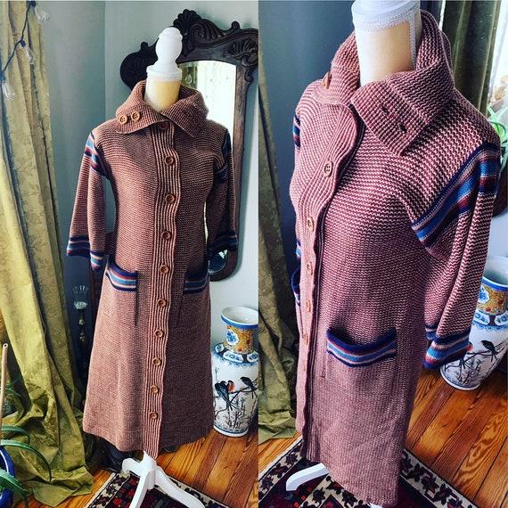 70s Sweater Dress, Vintage Sweater Dress, Retro Sw