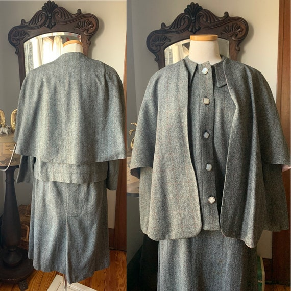 40s Vintage Grey Suit, 40s Wool Cape Suit, 40s Dr… - image 1