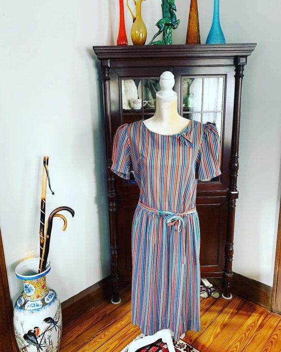 70s Striped Dress, Size Medium Striped Dress, Rain