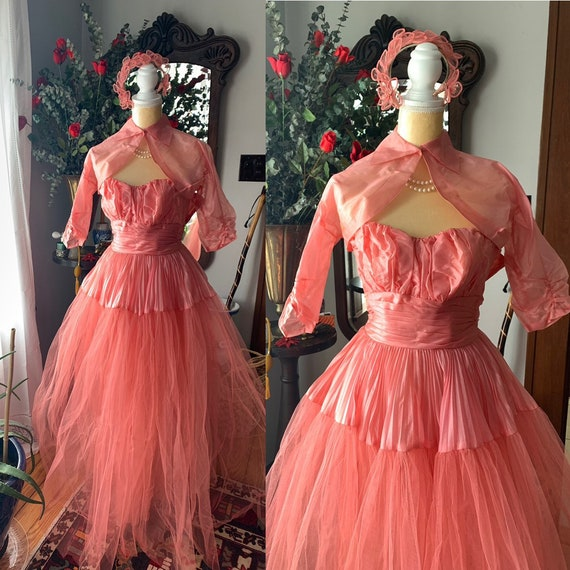 50s Rose Pink Tulle Dress, 50s Pink Tulle Dress, 4