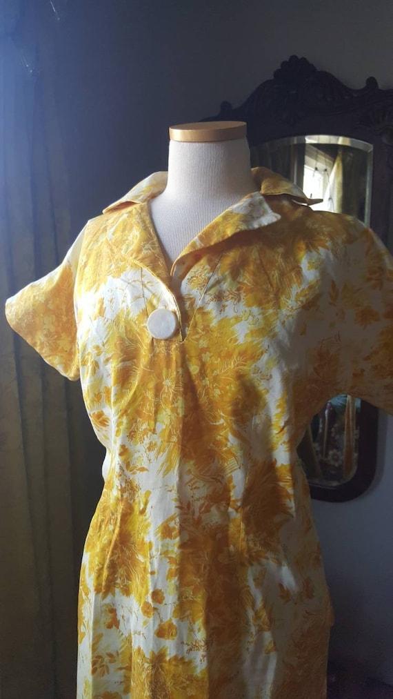 1940s Mustard Yellow Dress, 40s Volup Size Golden… - image 2