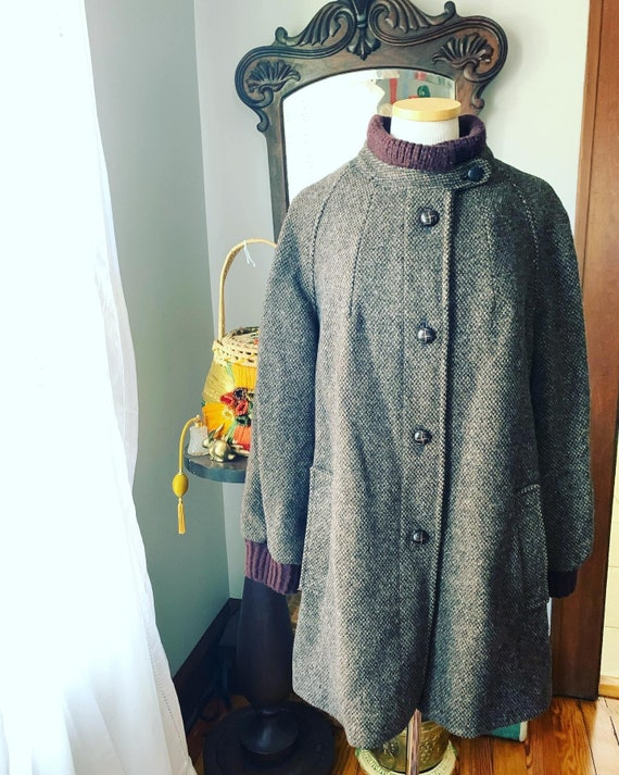 Vintage Welsh Tweed Coat, Vintage Brown Tweed Coat