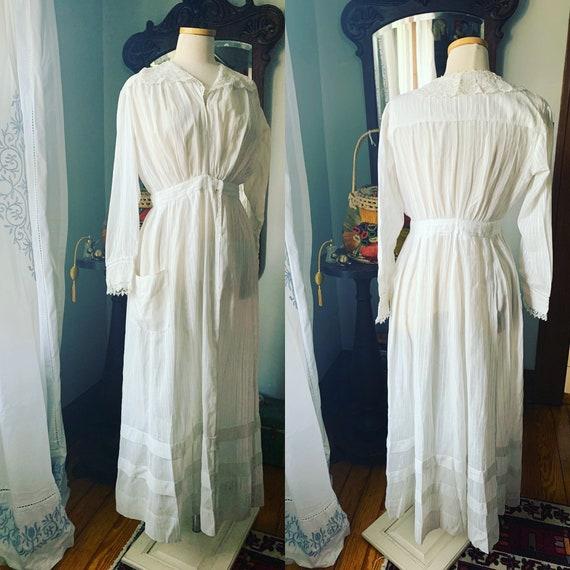 Edwardian White Lawn Dress, Vintage White Cotton D
