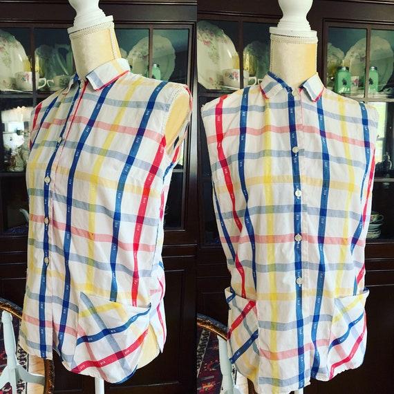 50s Button Up Blouse Size M 50s Checked Shirt 50s Summer Blouse 1950s Plaid Summer Blouse 50s Plaid Shirt Vintage Plaid Checks Shirt