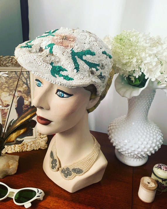 50s Sequined Visor Hat, 50s Sequined Pink Flower H