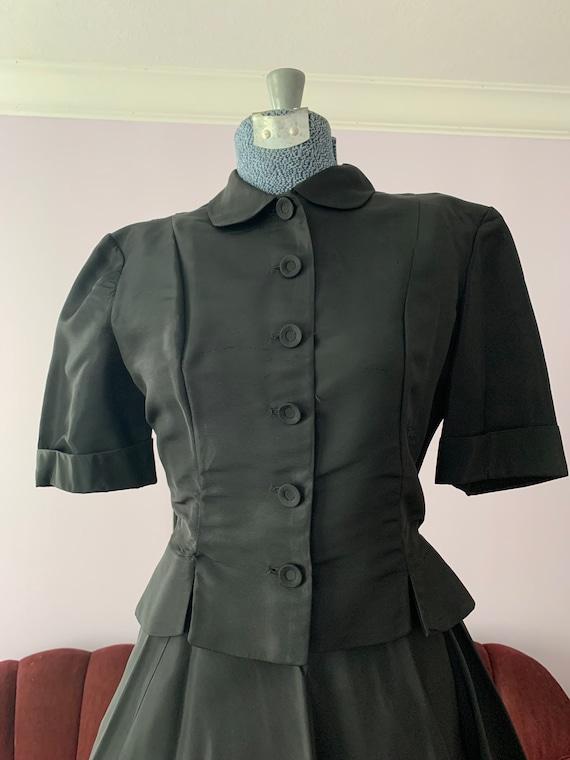 40s Black Taffeta Suit, 40s Circle Skirt, Vintage… - image 9