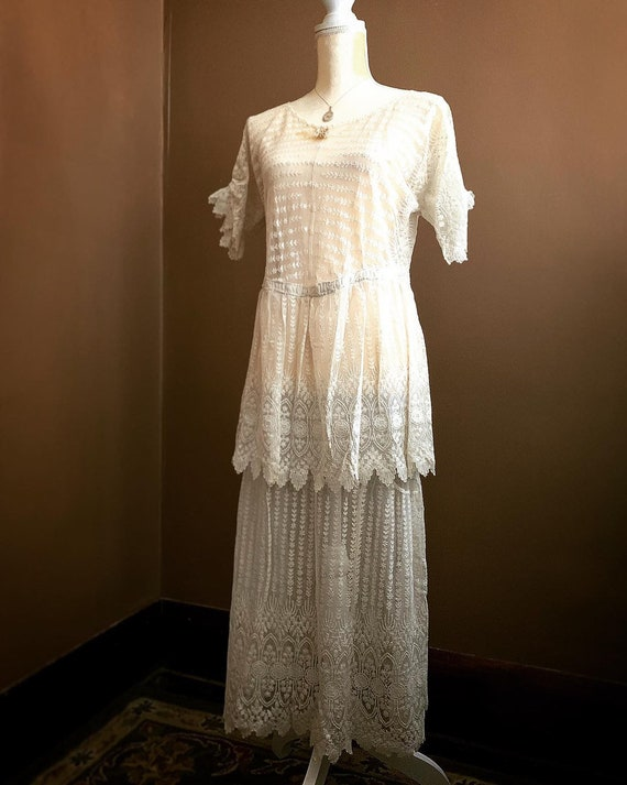 Edwardian French Lace Wedding Dress, 1920s White F