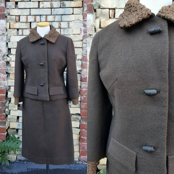 40s 50s Brown Wool Persian Lamb Wool Skirt Suit, … - image 1