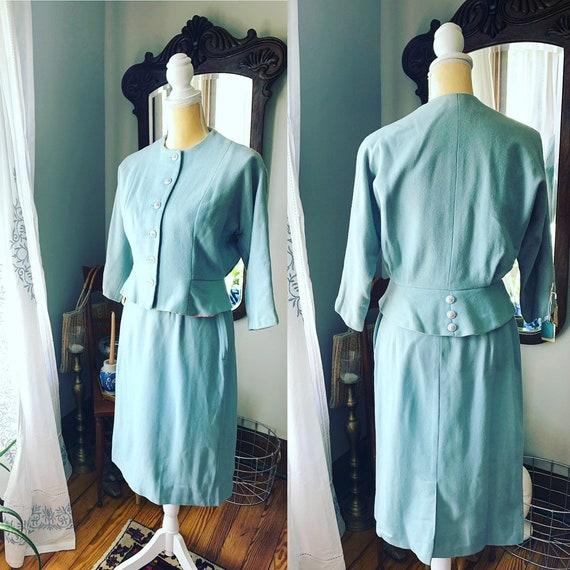 40s Suit, 40s Robin Egg Blue Suit, Vintage Suit, W