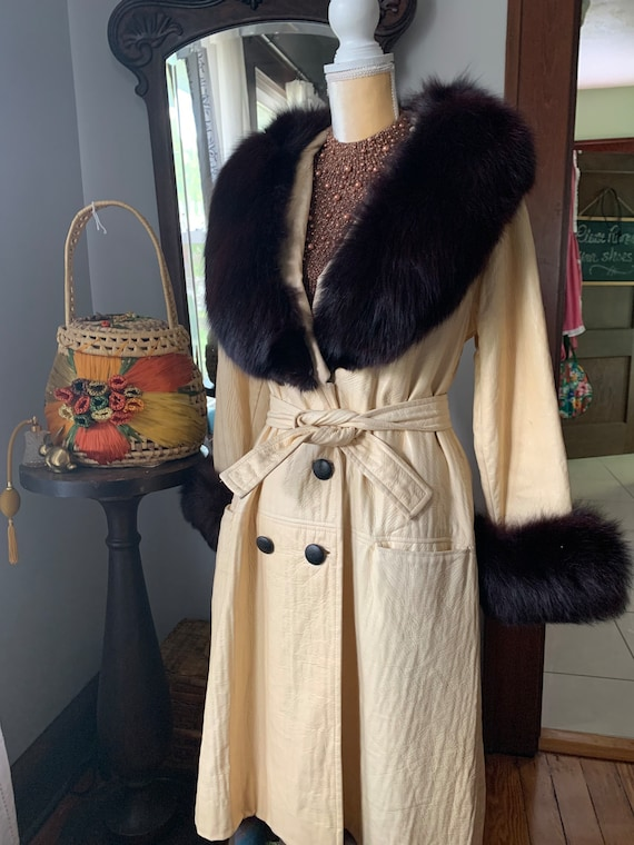 Vintage Lilli Ann Fox Fur Collar Trench, 60s Lilli