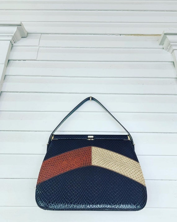 Vintage Orange Striped Handbag, 50s Autumn Handbag