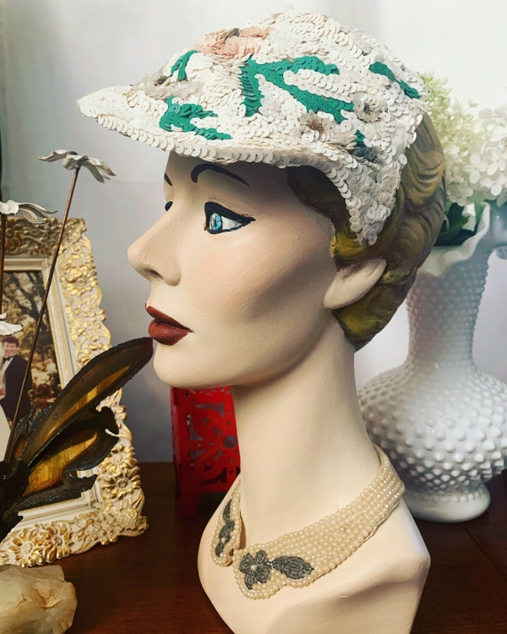 50s Sequined Visor Hat, 50s Sequined Pink Flower … - image 8