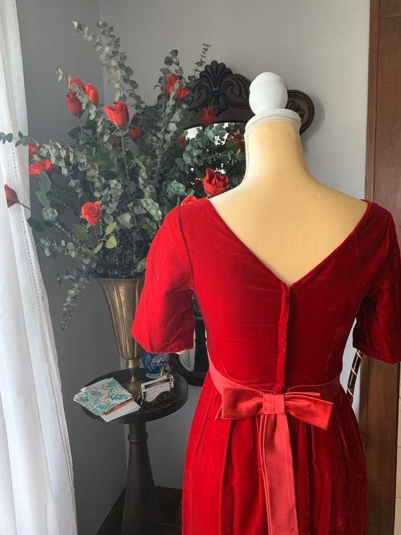 Vintage Red Velvet Dress, 60s Red Velvet Dress, F… - image 2