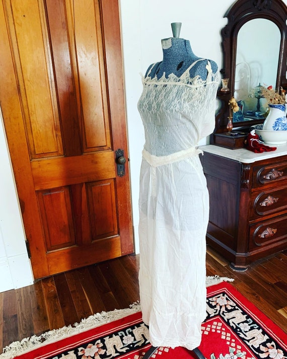 Antique Edwardian Nightgown, Vintage 1900s Cotton