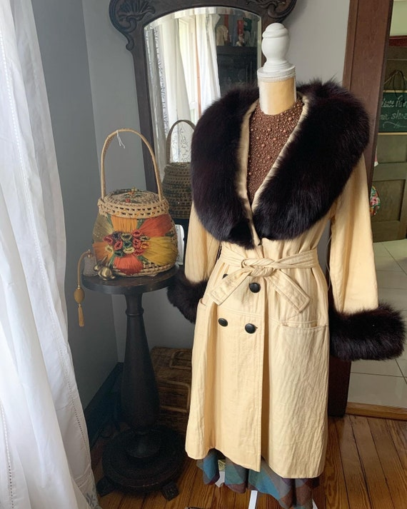 Vintage Lilli Ann Fox Fur Collar Trench, 60s Lill… - image 3