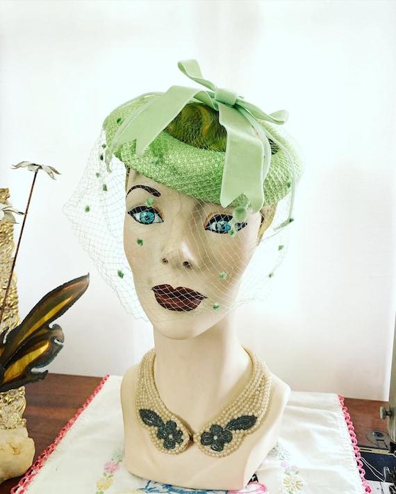 50s Celadon Green Velvet Bow Fascinator, 50s Green