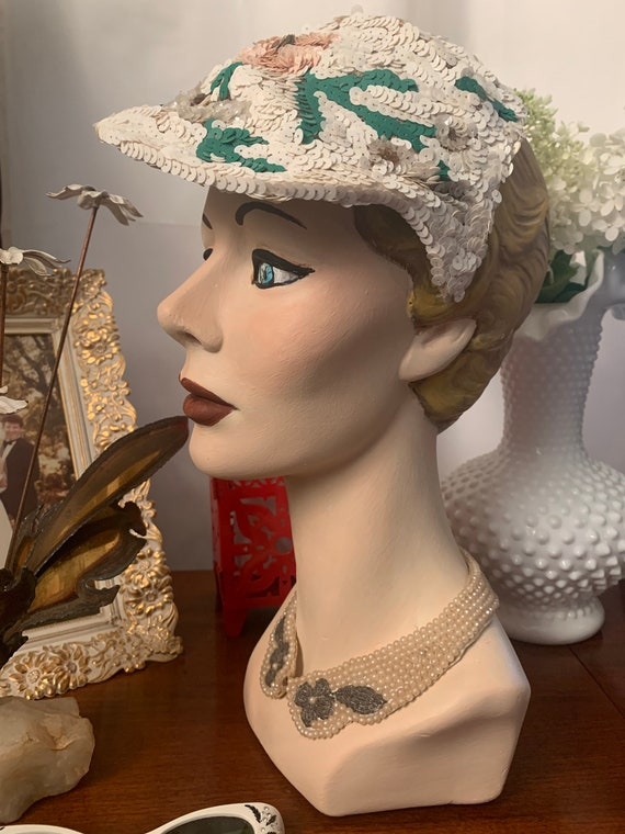 50s Sequined Visor Hat, 50s Sequined Pink Flower … - image 10