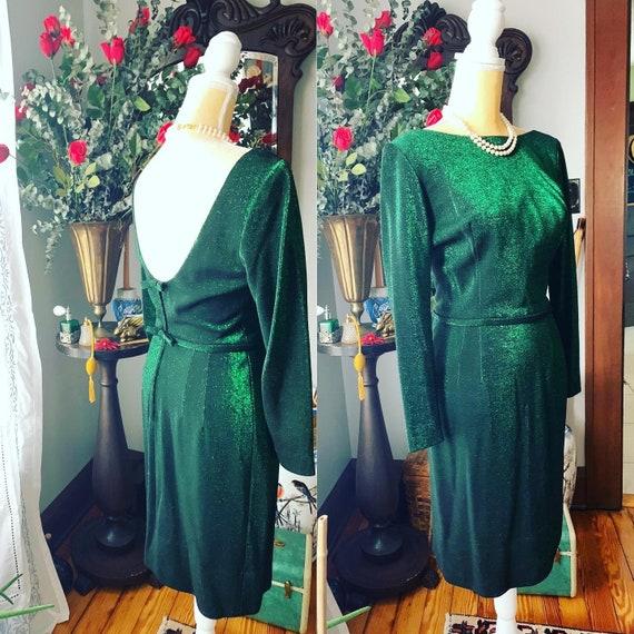50s Green Lurex Dress, Vintage Green Shimmer Dress