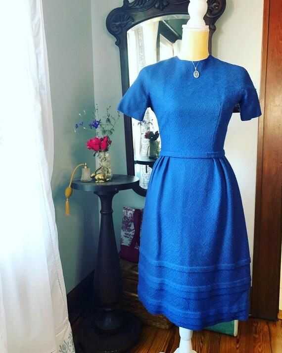 50s Blue Wool Lanz Dress, 50s Blue Winter Dress, V