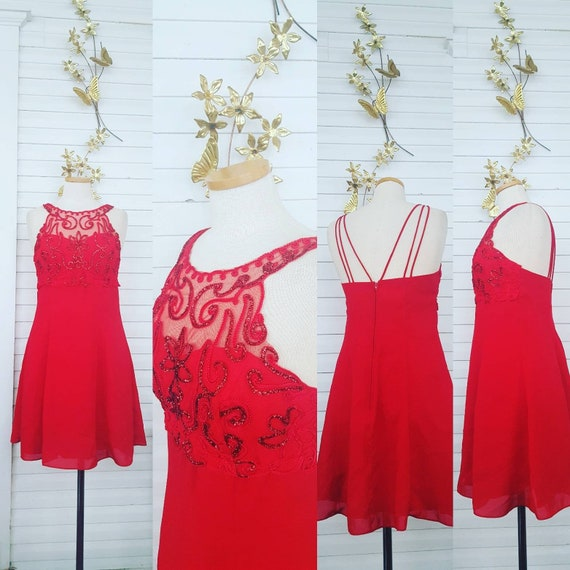 90s Red Dress, Sexy Red Dress, 90s Party Dress, Si