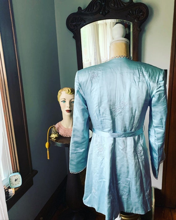 40s Blue Silk Embroidered Crane Robe, 40s Blue As… - image 7