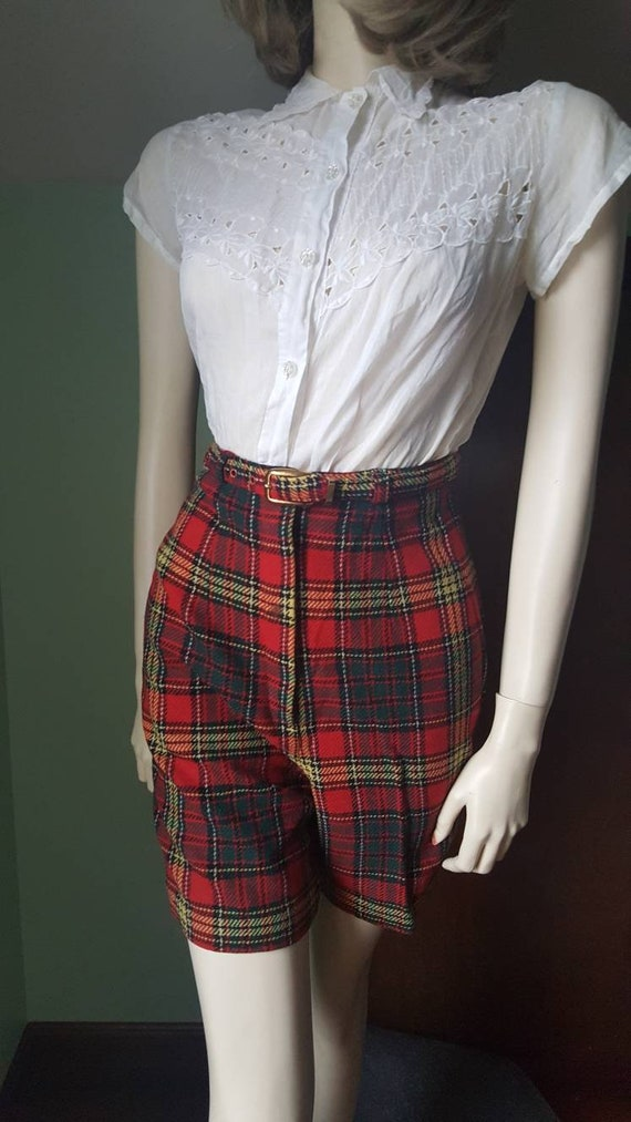 50s Wool Shorts, 50s Plaid Shorts, Size Small, Sm… - image 8