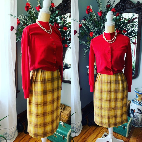 60s Plaid Wool Skirt, Mustard Plaid Skirt, Yellow