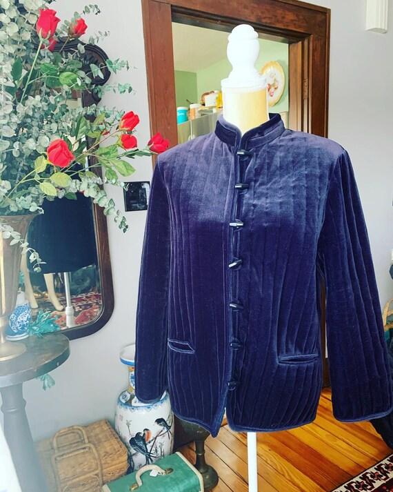 Blue Velvet Jacket, 70s Blue Velvet Blazer, Vintag