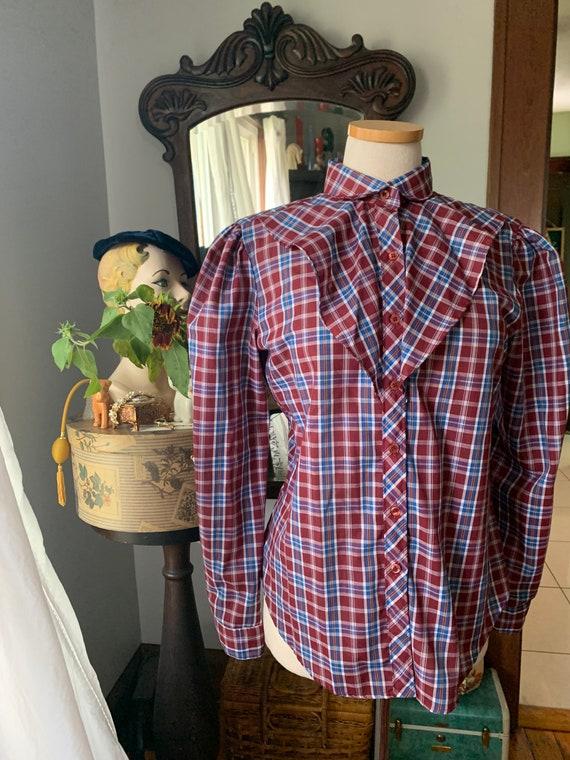 Plaid Prairie Blouse, Vintage Plaid Prairie Shirt… - image 8