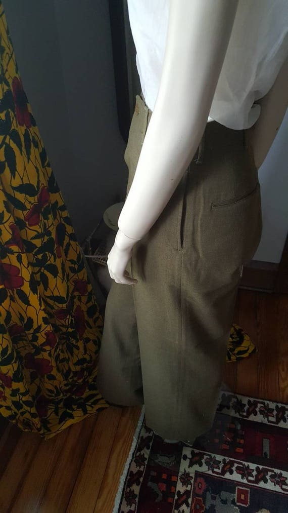 Two 40's Pants War 40s Army World Wool Men's 1940s High WWII Vintage Women's Green Waist WW2 rwqARrX