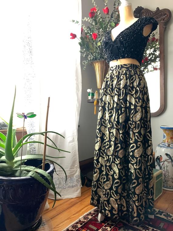 Vintage Metallic Skirt, Vintage Long High Waist S… - image 2