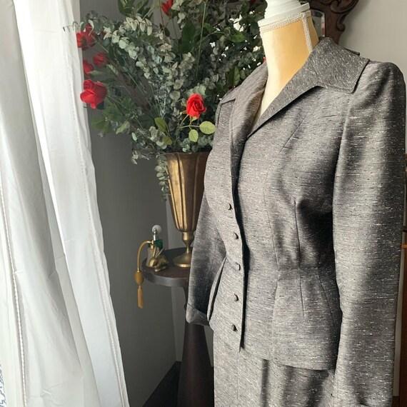 40s Grey Dress Suit, 40s Leslie Fay Pencil Suit, … - image 8