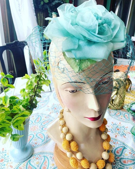 50s Blue Rose Fascinator, 50s Rose Mini Hat, 50s … - image 7