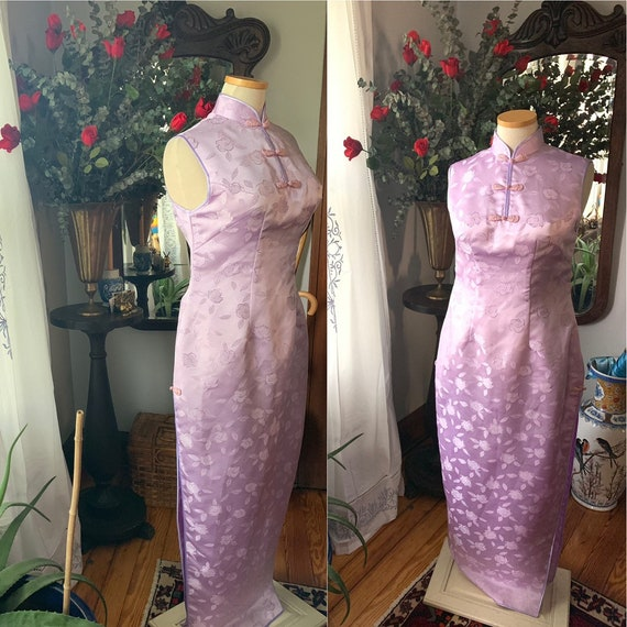 60s Asian Dress, Purple Qipao Dress, Cheongsam Dre