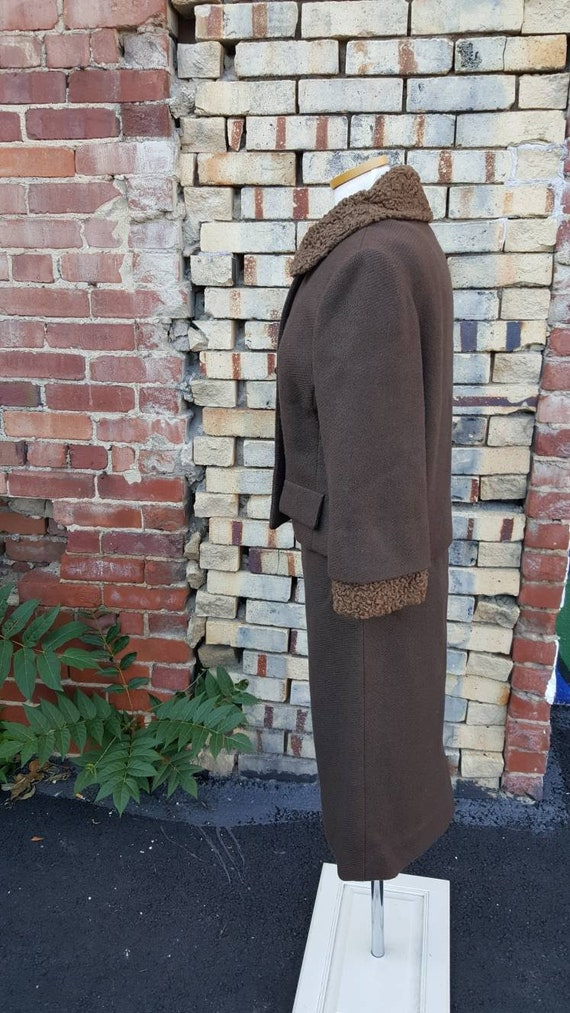 40s 50s Brown Wool Persian Lamb Wool Skirt Suit, … - image 4