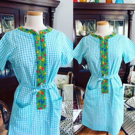 50s Blue Gingham Step N Go Dress, 50s Gingham Day
