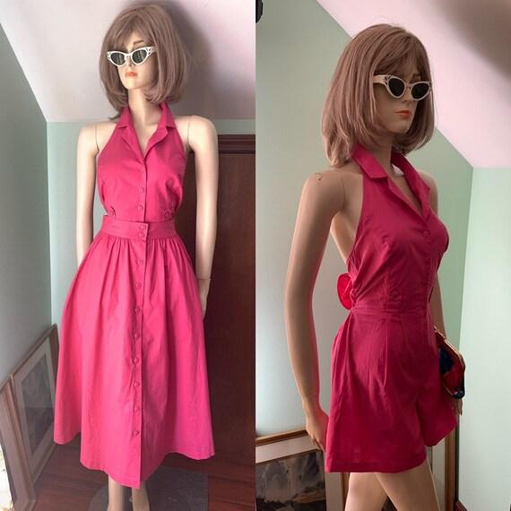 80s Does 50s Playsuit, Vintage Pink Romper, 50s St