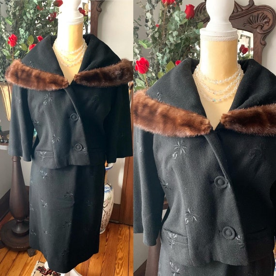 50s Black Suit, 50s Embroidered Suit, Mink Collar